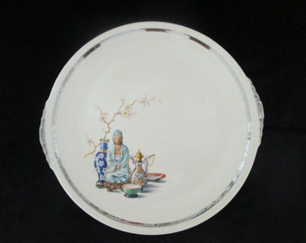 Vintage Paden City Pottery Co Far East Pattern with Buddha Platinum Band Serving Dish Plate
