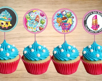 Shopkins Cupcake Toppers - Shopkins Birthday Party Tags - Shopkins Circle Favor Tags 2""