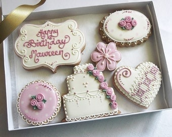 Personalised  Birthday Cookie Gift Box in Vintage Rose