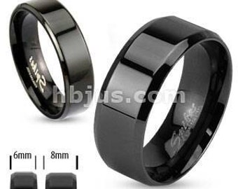 Spikes 6mm Black IP over stainless steel beveled edge band