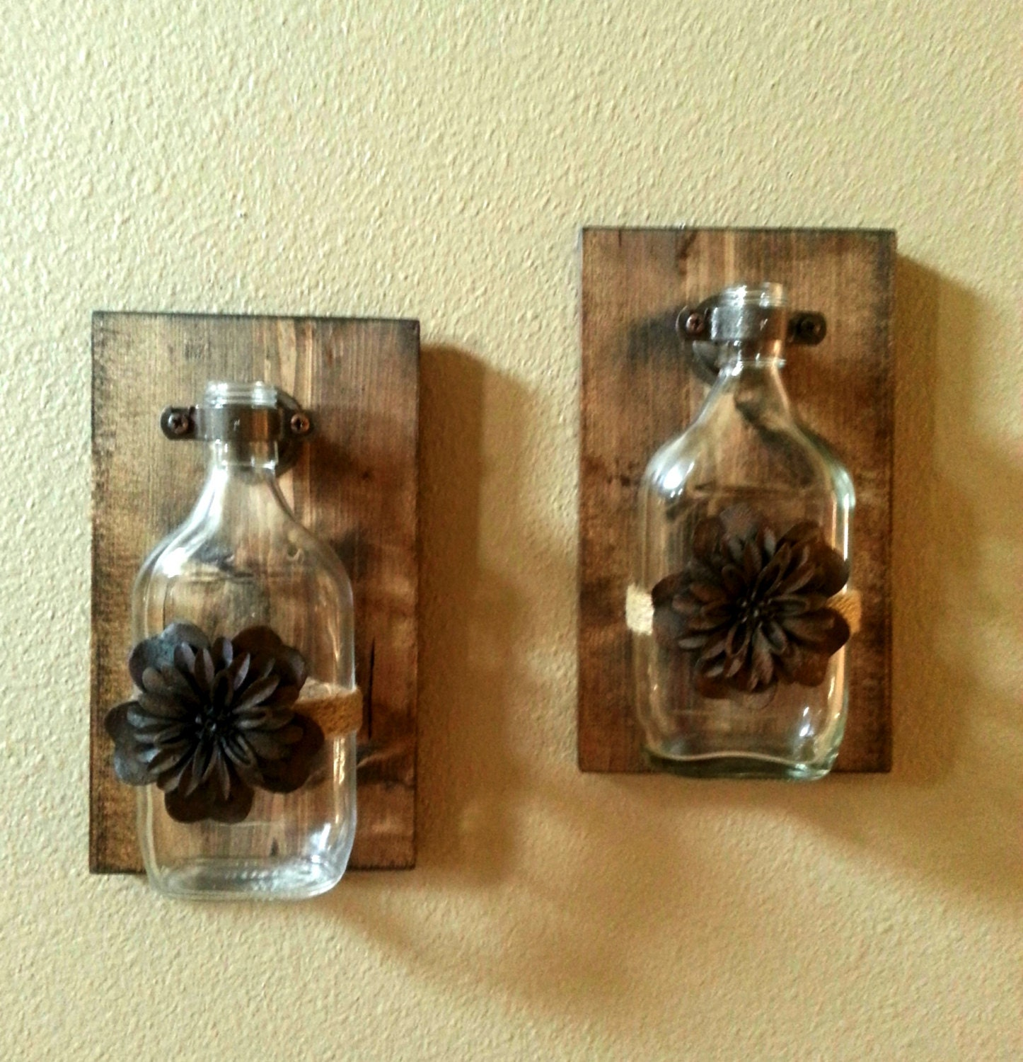 Rustic decor rustic glass vase rustic wall decor kitchen for Bathroom decor etsy
