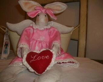 Folk Art Prim Ornie love Bunny