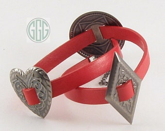 Wrap Bracelet - Red Leather Wrap With Conchos (B196)