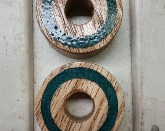Red Oak Plugs With Green resin insets