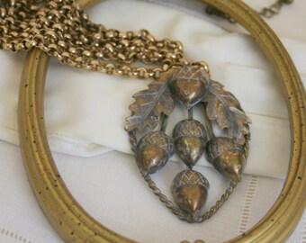 Antique Brass Acorn Pendant Assemblage Necklace