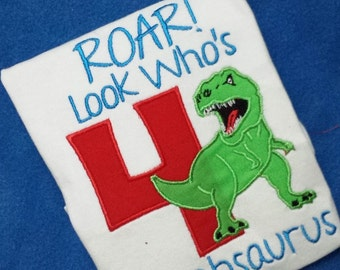 Dinosaur Birthday Shirt - Roar Look Who's 4!  Or any age - can also be without wording at top