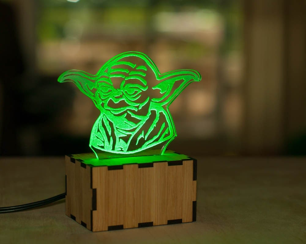 Yoda Bust Lamp Star Wars Lamp Baby Yoda Night Light By Lampup