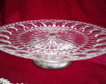 Vintage Cut Glass,1 Tier Cake Stand, Silver Plated Pedestal