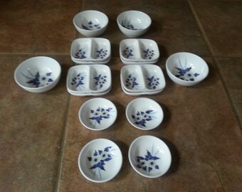 Fataco Melamine Ware, Mini,Three Types of Dipping Bowls, Two Sets of 4, One Set of 8, Excellent Condition, Great for Soy, Wasabi, Ginger,