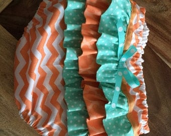 tangerine chevron Baby Girl Ruffled Bloomers, Diaper Cover