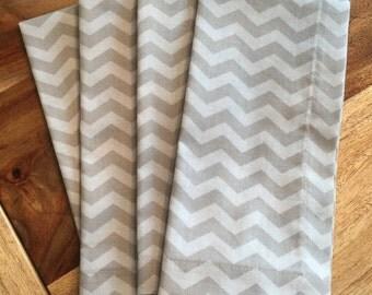 Grey on grey Chevron cloth Napkins- grey tonal-gray chevron Set of 2 or 4