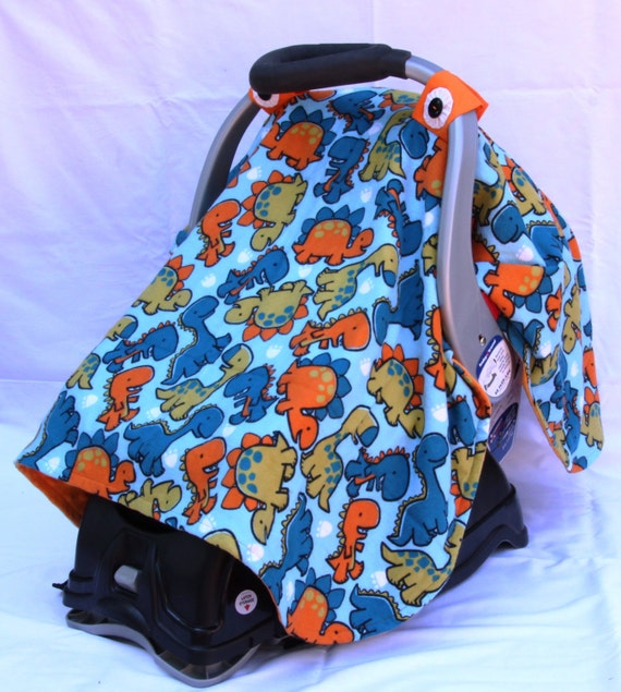 Boys Baby Car Seat Cover With Dinosaurs All Over Baby