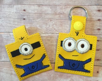 Minion inspired key fob/snap tab key chain (pick either one eye or two eyed minion)