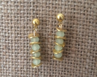 Earrings goldfilled chips & mint