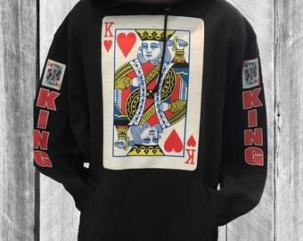 king of heart black hoodie