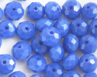 Faceted Blue Glass Rondelle Beads, 14 pieces, 10mm, cobalt blue beads, faceted beads, glass beads, royal blue beads, rondelles