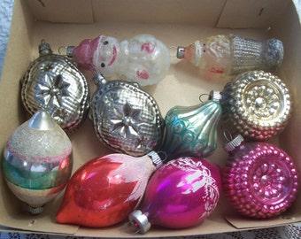 Ten Assorted Shapes Shiny Brite/Poland Christmas Ornaments