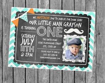 Mustache Birthday Invite - 1st Birthday Invitation - DIY Printable File