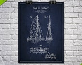 1938 Sailboat Patent Poster, Patent Art Print, Patent Print, Blueprint, Wall Art, Home Decor, Gift Idea
