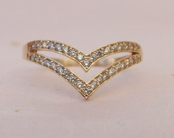 14K Yellow Gold Plated CZ Double Chevron Ring