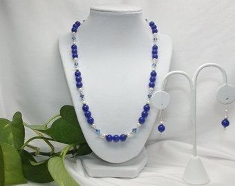 Blue Onyx, Pearl, Swarovski Crystal and Sterling Necklace Set