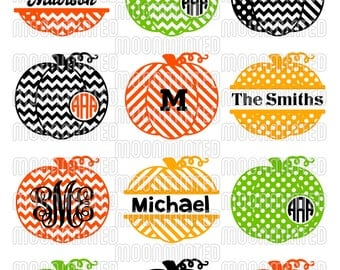 Fall Patterned Pumpkins SVG Cut Files - Monogram Frames for Vinyl Cutters, Screen Printing, Silhouette, Die Cut Machines, & More
