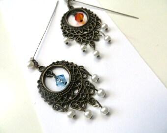 Swarovski Crystal Hijab Pin / Dangle Hijab Pin / Dangle Pin / Fancy Pin / Hijab Accessory / Teeka ~ Fire and Ice
