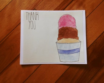 Ice Cream Shop Thank You Card - Cup of Ice Cream