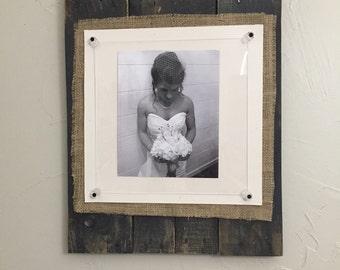 Custom Burlap Pallet Frame w/ acrylic glass