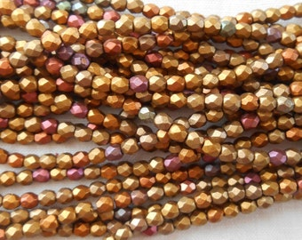 50 3mm Czech Matte Metallic Gold Copper Iris glass beads, round faceted firepolished beads, C1550