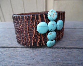 Turquoise Spider Vein Beaded Cross Brown Up-Cycled Cracked Leather Cuff Bracelet