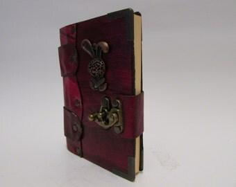 Leather journal notebook real rabbit emblem