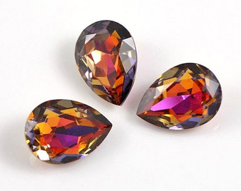 2 pc VOLCANO and settings Unfoiled Swarovski Fancy Stone Drop 4320 18 mm