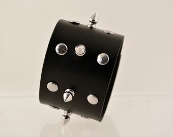 Black Leather Cuff with Spikes