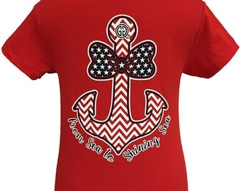 Girlie Girl Originals America Bowtie Anchor Unisex Fit T-Shirt