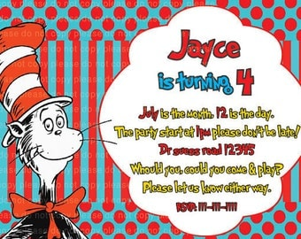 Dr suess - the cat in the hat- party birthday invitation