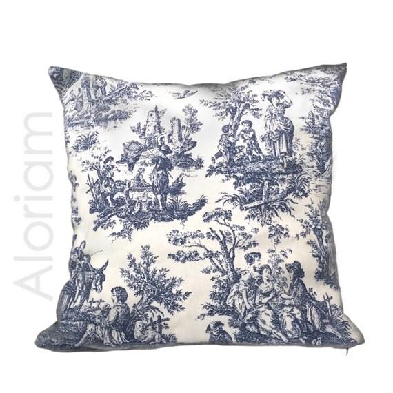 French Blue Throw Pillows : French Country Navy Blue White Toile Print Throw Pillow