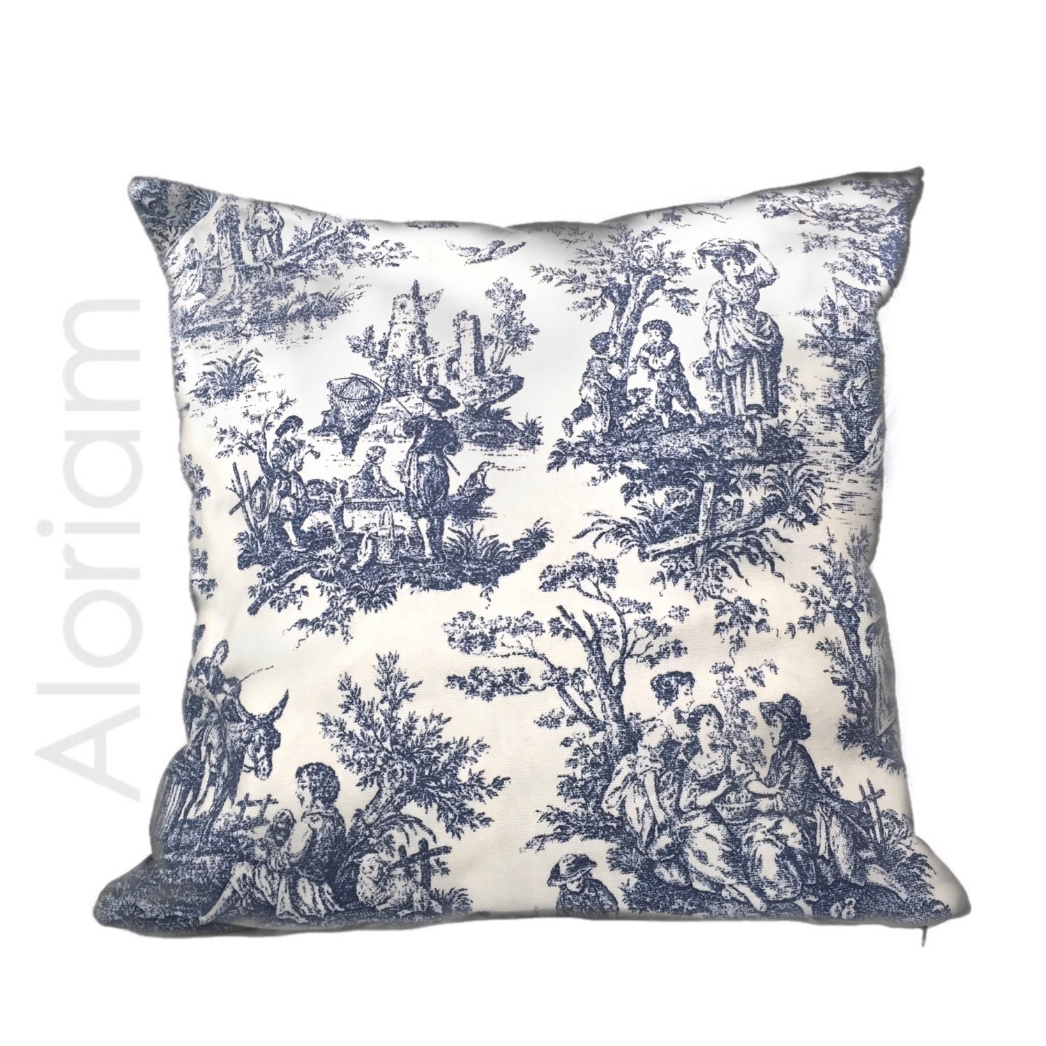 Country Blue Throw Pillows : French Country Navy Blue White Toile Print Throw Pillow