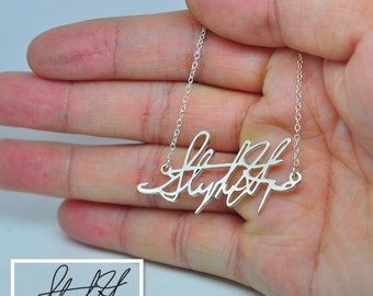 Sterling Silver Signature Necklace, Personalized Handwriting Neckalce, Hand Cut Out Name Pendent, Custom Nameplate Neckalce, Christmas Gift