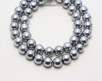 15.5 inch Strand of BEAUTIFUL 6mm Round Non Magnetic Hematite Beads Grade AAAA - Electroplated Platinum Color Finish - Fast Ship USA 1003A