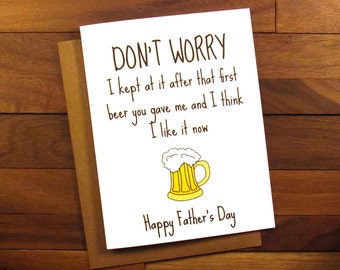 Father's Day Card - Beer Fathers Day Card - Funny Fathers Day Card with recipe for Beer Can Chicken - Sarcastic Father's Day Card