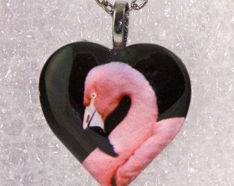 Flamingo Heart Necklace,Flamingo,Animal,Bird,Zoo,Pink,Puffy Heart,Glass Pendant,Gunmetal Bail & Necklace -- DSC_1035-HT30-GG