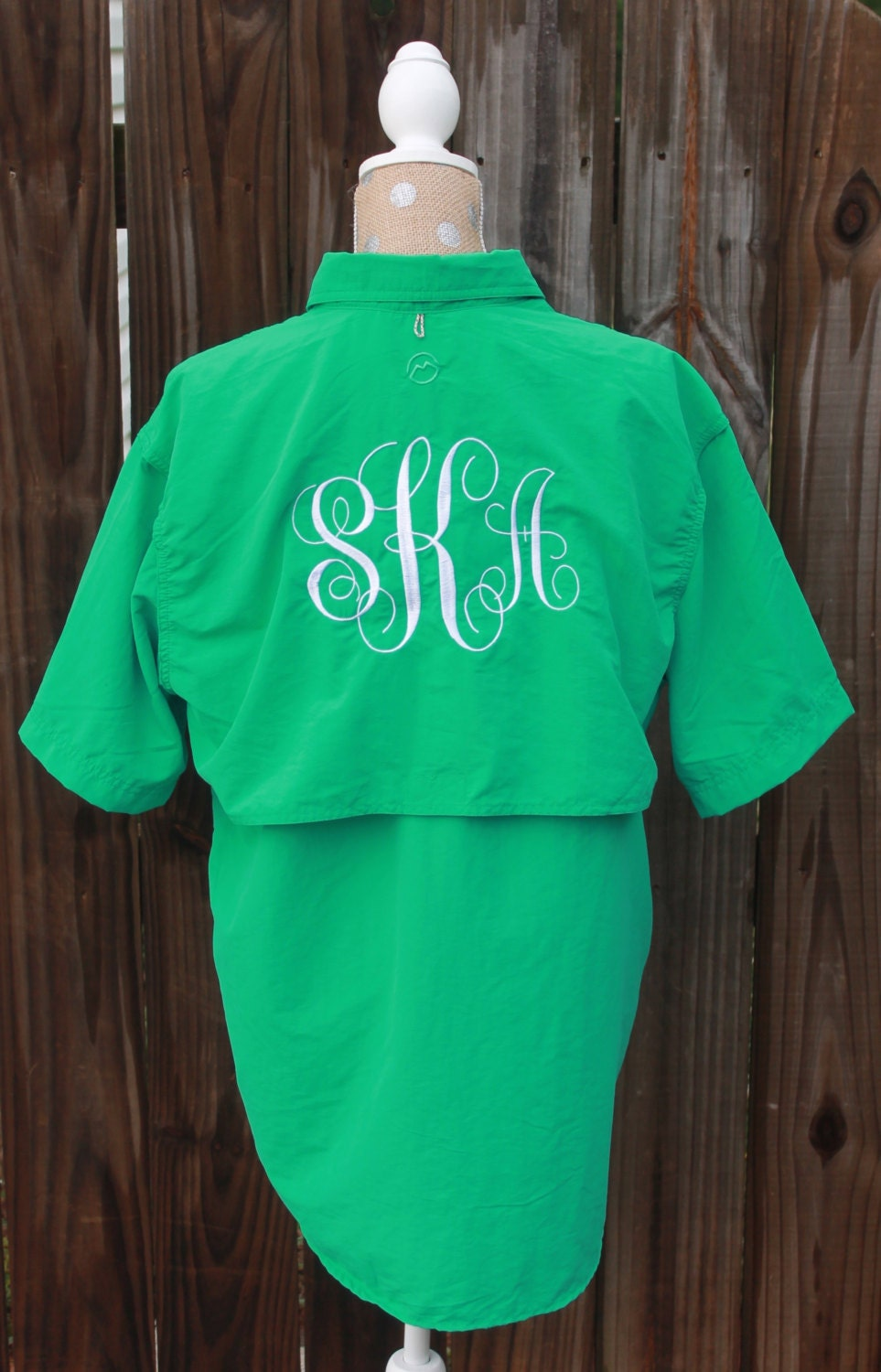 Women 39 s monogrammed fishing shirt swimsuit cover up by for Monogram fishing shirt