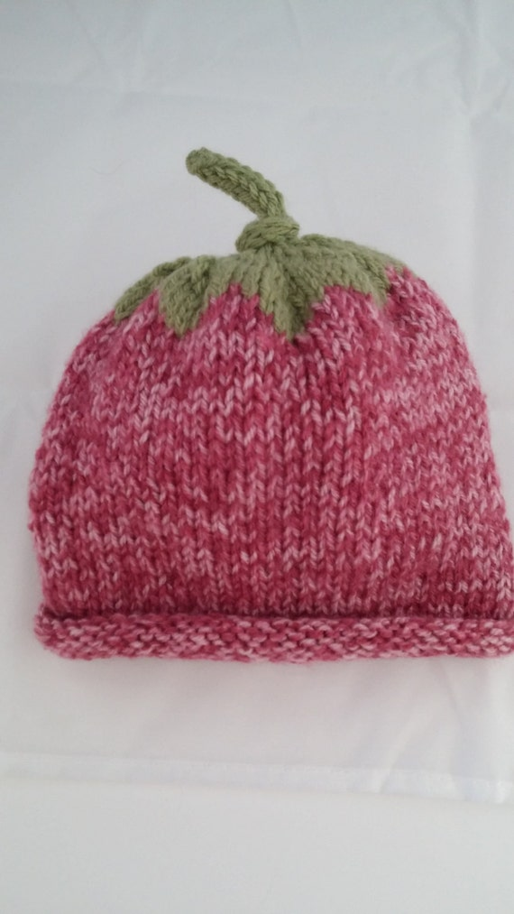 Strawberry Leaf Knitting Pattern : Baby Girl Strawberry Hat Deep Pink heather with Leaf on top.