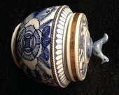 Antique Chinese Export Blue & White Porcelain with Gold Accents Ginger Jar Bought in Thailand in, 70's Blue Bird of Happiness Hand Painted