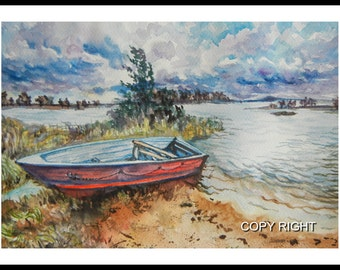Original Water Color painting, Red Boat , landscape painting, boat 150120