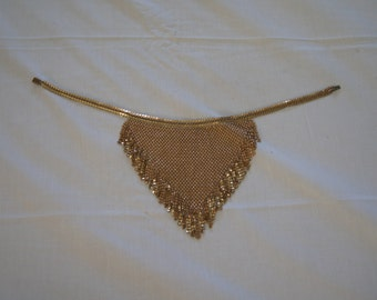 Vintage 1960's - Gold Tone Chainmail Bib Necklace.