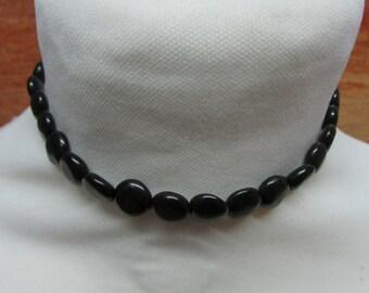 Vintage small flat black disc/melon bead choker