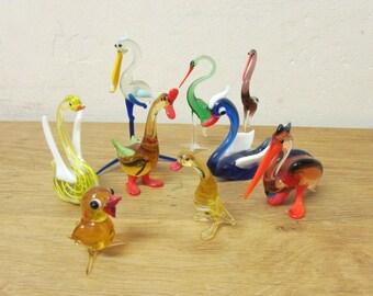 Set of 8 vintage hand-blown art glass miscellaneous birds