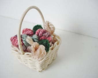 mini basket of yarn